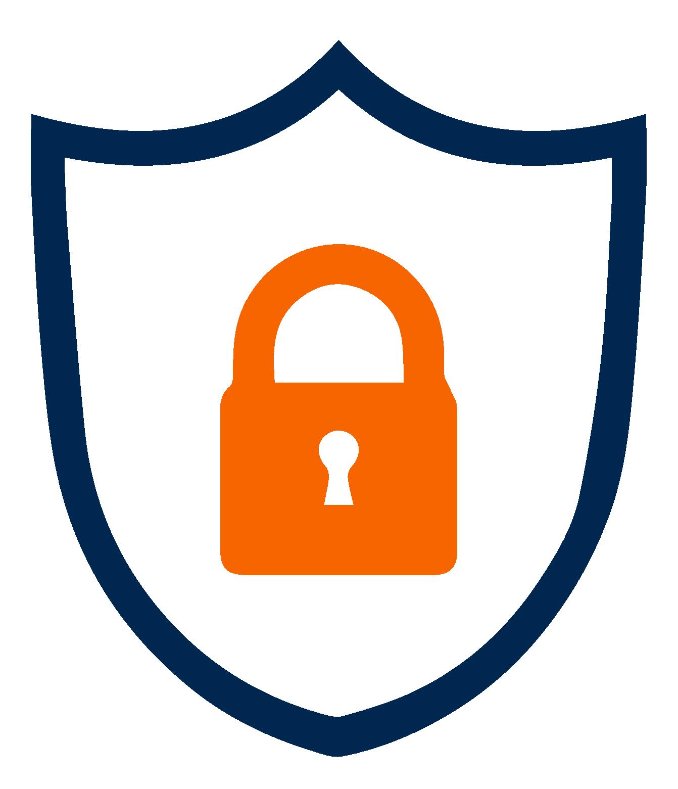 Icon in 2 color a lock inside shield outline, Fraud In Billing, fraudulent billing