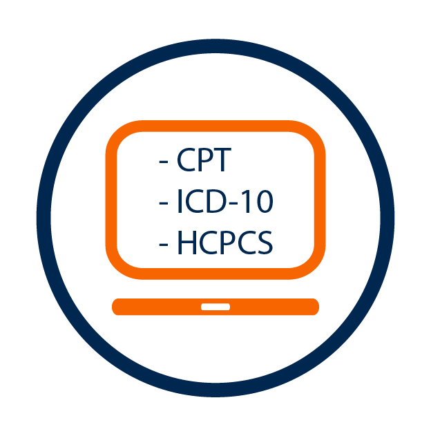 Icon in 2 color outline Monitor and complete Circle around it, CPT, ICD-10, HCPCS, Medical Billing Revenue Cycle