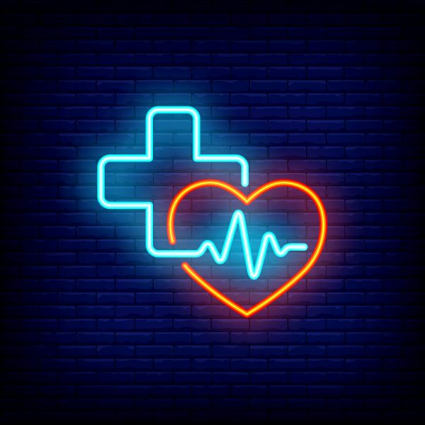 Heart, cross and cardiogram neon sign. Medicine, cardiology and healthcare concept. Advertisement design. Night bright neon sign, colorful billboard, light banner. Vector illustration in neon style.